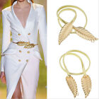 New Fashionable Women Metal Leaves Elastic Stretch Waist Belt Strap Cummerbund
