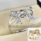 Fashion Rhinestone Bow Tie Ring 18KGP use CZ Rhinestone Crystal Size 5.5-9