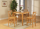 5-PC COUNTER HEIGHT PUB SET, TABLE WITH 4 WOODEN CHAIRS IN OAK