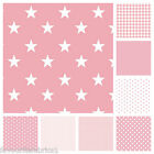 STARS  PINK & WHITE COTTON FABRIC by the metre EX WIDE NURSERY  FASHION