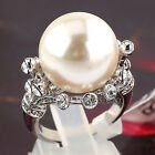 A1-R181 16mm Pearl Fashion Ring 18KGP use Swarovski Crystal Size 5.5-10