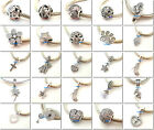 925 Solid Sterling Silver Clear CZ Charms Fit European Beads Charm Bracelet