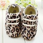 Soft Sole Leopard Crib Shoes Toddler Baby Lace Up Prewalker Shoes Newborn to 18M