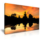 BUDDHA TEMPLE Sunset Water Canvas Wall Picture Print ~ More Size