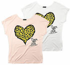 Ladies Animal Heart Print Summer T Shirt Short Sleeved Women T Shirt Size 8-14