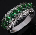 Nobby Size 7,8,9,10 Emerald 18K Gold Filled Fashion Anniversary Woman's Rings