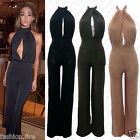 ***New Women Ladies Celeb Inspired Backless HALTER NECK Cut out Cling Jumpsuit