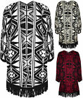 New Womens Aztec Tassel Batwing Sleeve Top Ladies Open Knitted Cardigan 8 - 14