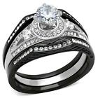 Stainless Steel  Round Cut halo Raised cz Black Wedding Engagement 3 pc Ring Set