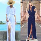 NEW Fashion Women Long Sleeve Maxi Shirt Dress Split Cocktail Beach BOHO Dress