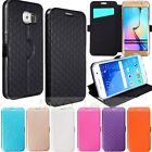 Grid Flip Leather TPU Card Wallet Case Cover Stand For Samsung Galaxy S6 S6 Edge