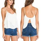 May&Maya Women's White Open Flutter Back Camisole Top Shirt Blouse Tank Tee Cami