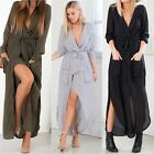 Sexy Women Long Maxi Split V Neck Long Sleeve Dress Tunic Chiffon Beach Cocktail