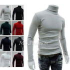 Mens Knitted Polo Roll Turtle Neck Pullover Sweater Jumper Top New