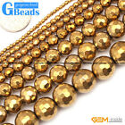 """Gold Metallic Coated Reflections Hematite Faceted Round Beads Free Shipping 15"""""""