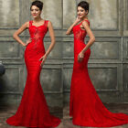 RED Lace Sexy Mermaid Long Prom Evening Homecoming Wedding Gown Party Prom Dress
