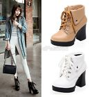 Ladies Fashion Cuffed Lace Up Platform High Heel Ankle Boots Shoes Plus Size 208