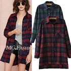 Casual Women's Long Sleeved Plaid Blouse Button Flannel Tops Shirt Preppy style