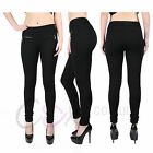 LADIES HIGH WAISTED GOLD ZIP STRETCH FIT SEXY JEGGINGS TRENDY LEGGINGS PANTS