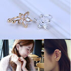 Nice Crystal Flower Gold HA Silver Ear Cuff Stud OU Earring Wrap Clip On Jewelry