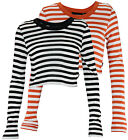 Wesc Women's Caty Long Sleeve Striped Crop Top - Orange and Black