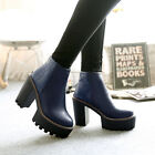 Womens Gothic Ankle Boots Block High Heels Cut Out Chunky Platform Shoes Pumps