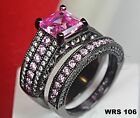 4.47Ct Asscher Cut Hot Pink Sapphire Black Rhodium Engagement Wedding Ring Set