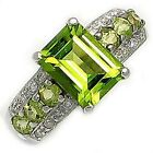 Cocktail Size 8,9,10,11 Peridot 18K Gold Filled Engagement Rings For Women Halo