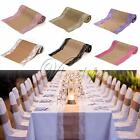 2.75mx30cm Lace Vintage Natural Burlap Jute Hessian Table Runner Cloth Wedding