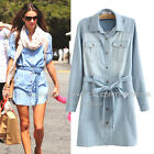 dc48 Celebrity Style Vintage Blue Washed Self Belted Denim Shirt Dress
