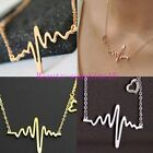 New Fashion Womens Cute Heart Beat Pendant Necklace Stainless Steel with Chain