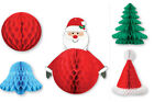 Retro Christmas Paper Honeycomb Decorations Santa Snowflake Hat Tree Ball Bell