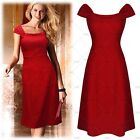 Womens Pinup Short A Should Evening Cocktail Party Bridesmaid Empire Waist Dress
