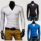 New Mens Casual Slim Fit Polo Shirts Long Sleeve T-shirts Tops Tee Blouse
