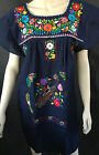 ABOVE KNEE EMBROIDERED MEXICAN PEASANT HIPPIE MINI BOHO DRESS  S M L XL XXL
