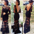 Black Women Slim Backless Lace Sleeve Maxi Evening Ball Gown Party Long Dress