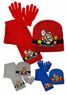 Boys Super Mario Bros 3 Piece Set New Kids Hat Scarf And Glove Set Red And Blue