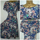 NEW MONSOON TEA DRESS RETRO 50'S FLORAL BLUE PEACH IVORY FIT & FLARE SIZE 8 - 22