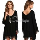 New U-neck Long Speaker Sleeve Hollow Skirt Lace Casual Stitching Mini Dress