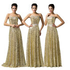 GOLD SEQUINS Glitter Wedding Bridesmaid Prom Ball Gown Party Long Evening Dress