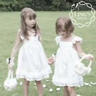 White Flower Girl Dress Wedding Pageant Party Bridesmaid Vintage 2 4 6 8 10 New