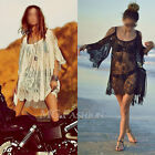 Boho Beach Sexy Strap Backless Lace Floral Crochet Mini Dress Kaftan Loose Tops