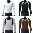 Top Designer New Mens Casual Muscle Slim Fit Long Sleeve T-shirt Tops Tee 5Color
