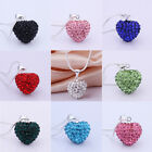 Fashion Crystal Heart 925 Sterling Silver Pendant with Snake Chain Necklace Gift