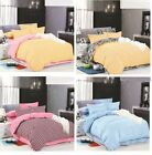 Solid Stripe Soft Bedding Doona Duvet Quilt Cover And 2 Pillowcases Set Or Flat