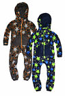 Boys Star Printed Onesie New Kids Hooded Cosy Winter Jumpsuit Ages 7-13 Years