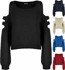 New Womens Off Shoulder Cut Knitted Long Sleeve Short Jumper Ladies Top Sweater