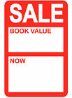 45 x 65mm Bright Red 'Sale - Book Value' Price Point Stickers / Sticky Labels