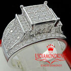 WOMENS LADIES 14K WHITE GOLD OVER STERLING SILVER ENGAGEMENT WEDDING RING BAND