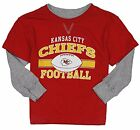 NFL Football Toddlers Kansas City Chiefs Long Sleeve Faux Layered Shirt, Red